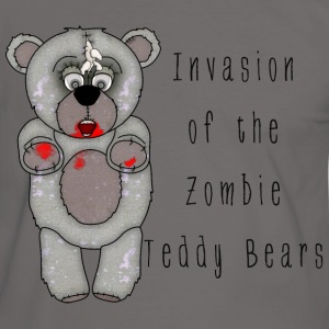 Funny Zombie Teddy Bear Invasion Cartoon - Men's Ringer Shirt