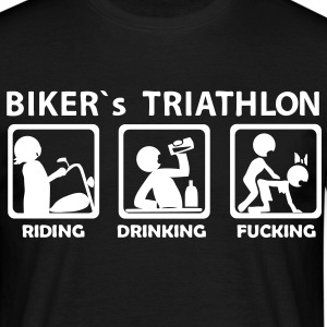 bikers triathlon eating drinking fucking budget - Men's T-Shirt