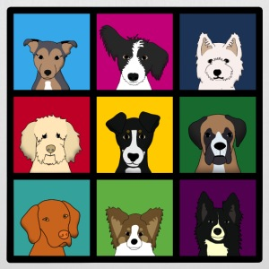 9 x chiens tête colourful Sacs - Tote Bag