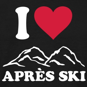 I love Apres Ski Mountains, Heart, skiing party T-shirts - Herre-T-shirt