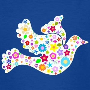 White Dove of Flowers and Peace Shirts - Teenage T-shirt