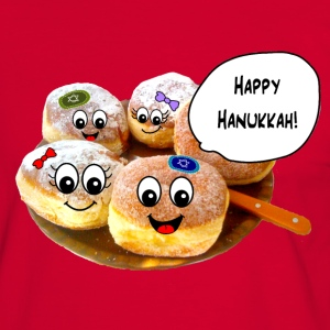 Happy Hanukkah cute doughnuts T-Shirts - Men's Ringer Shirt