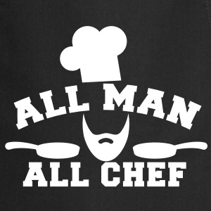 chef cook all man all chef with saucepan   Aprons - Cooking Apron