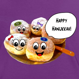 Happy Hanukkah cute doughnuts T-Shirts - Women's Ringer T-Shirt