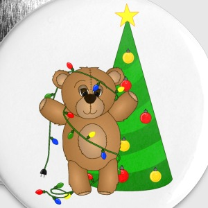 Cute Teddy Bear Tangled in Christmas Tree Lights - Buttons large 56 mm