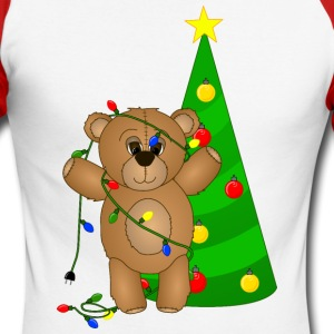 Cute Teddy Bear Tangled in Christmas Tree Lights - Men's Long Sleeve Baseball T-Shirt