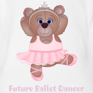 Cute Ballerina Teddy Bear - Organic Short-sleeved Baby Bodysuit