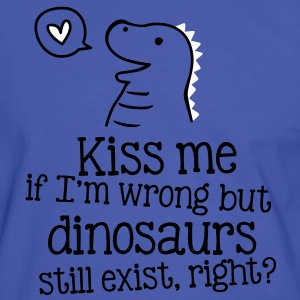 kiss me if im wrong but dinosaurs still exist... T-shirts - Mannen contrastshirt