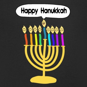 Happy Hanukkah cute cartoon smiley menorah T-Shirts - Men's V-Neck T-Shirt