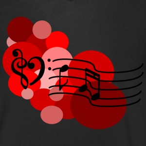 Red Music notes and polka dots T-Shirts - Men's V-Neck T-Shirt