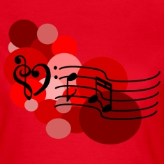 Red Music notes and polka dots T-Shirts