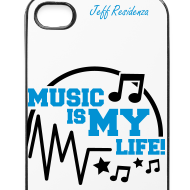 Ontwerp ~ I-phone 4/4S cover: Jeff Residenza - Music is my life