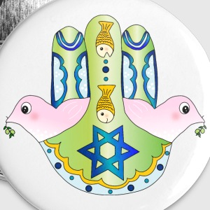 Jewish Chamsa with magen david and peace doves Buttons - Buttons large 56 mm