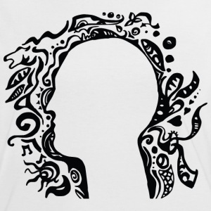 Black and white Tribal Head Silhouette T-Shirts - Women's Ringer T-Shirt