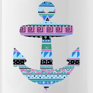 Anchor with Blue Tribal Pattern Bottles & Mugs - Water Bottle