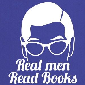 Real men READ books! with serious glasses man face  Aprons - Cooking Apron