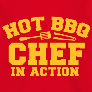 HOT BBQ CHEF IN ACTION!! with tongs and fork Shirts - Kids' T-Shirt