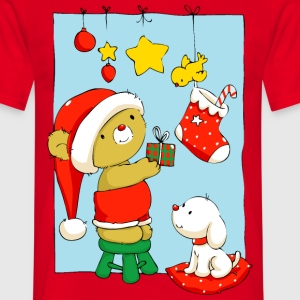 Christmas Bear doing Christmas decorations T-Shirt - Men's T-Shirt