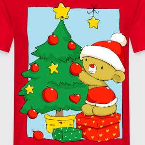 Christmas Bear decorating Christmas tree T-Shirts - Men's T-Shirt