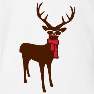 A reindeer with scarf and glasses Shirts - Organic Short-sleeved Baby Bodysuit