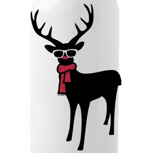 A reindeer with scarf and glasses Bottles & Mugs - Water Bottle