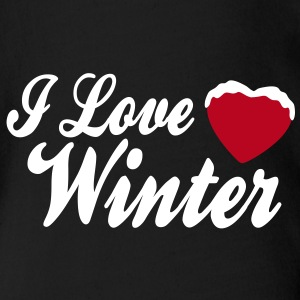I love winter with heart 2c T-Shirts - Baby Bio-Kurzarm-Body