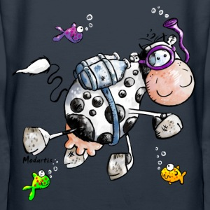 Diving Cow Cartoon Shirt Hoodies & Sweatshirts - Women's Premium Hoodie
