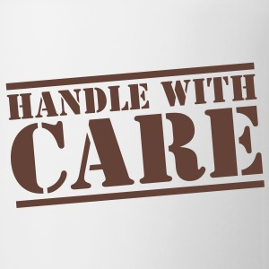 handle with care box sign in stencil Bottles & Mugs - Mug