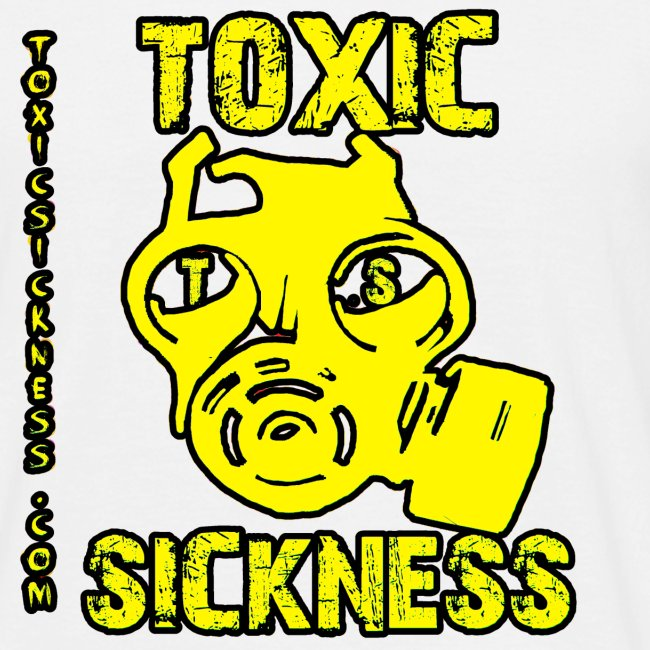 NEW Mens Yellow  Toxic Logo White t-shirt