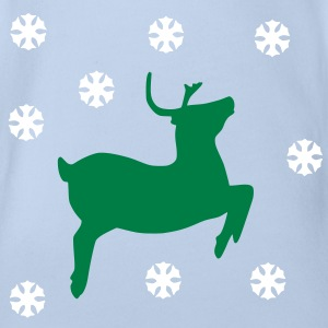 Reindeer and snowflake Shirts - Organic Short-sleeved Baby Bodysuit