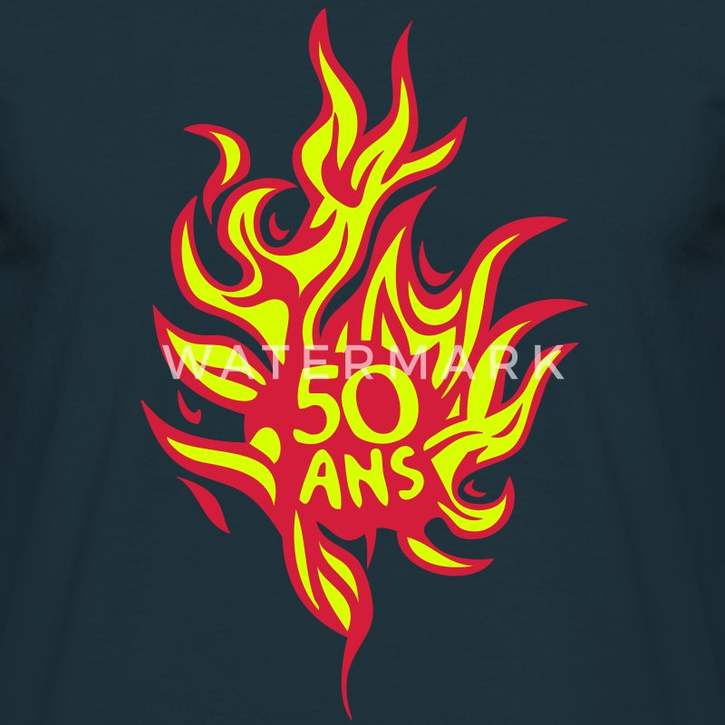 50 ans flamme feu brule anniversaire Tee shirts - T-shirt Homme