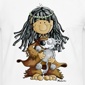Fille indienne et le loup - tee shirt Tee shirts - T-shirt contraste Homme
