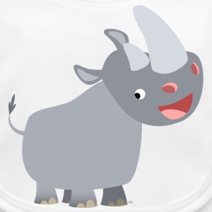 White Cute Happy Cartoon Rhinoceros by Cheerful Madness!! Accessories - Baby Organic Bib
