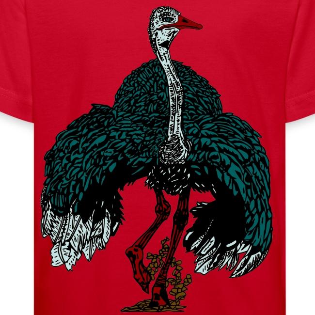 Biologisch kinder T-shirt met struisvogel