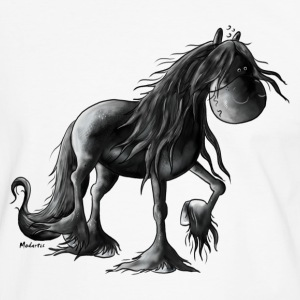 Friesian Horse - Friese - Cartoon - Shirt - Männer Kontrast-T-Shirt