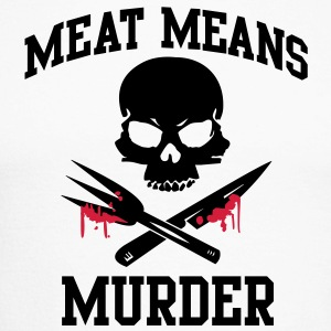 Meat means murder Long sleeve shirts - Men's Long Sleeve Baseball T-Shirt