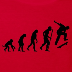 Red Evolution of Skateboarding Kid's Shirts