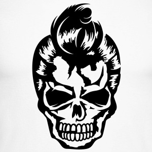 A skull with a rockabilly haircut Long sleeve shirts - Men's Long Sleeve Baseball T-Shirt