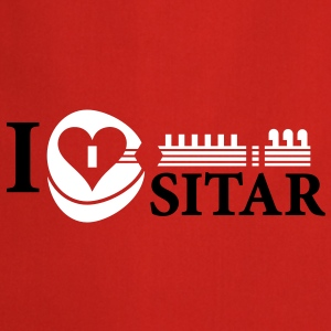 i_love_sitar_2c_hr  Aprons - Cooking Apron