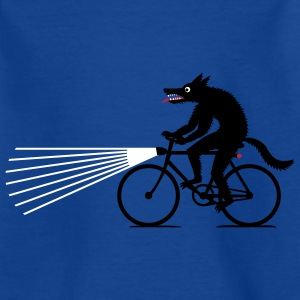 Royal blue Wolf with bike Shirts - Teenage T-shirt
