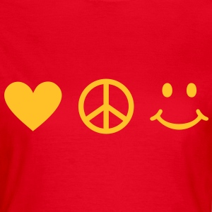 BE HAPPY - Love Peace Happiness Heart Sign Smiley T-shirts - Dame-T-shirt