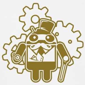 steampunkandroid_mono_light T-shirts - Mannen T-shirt