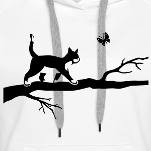 Chat avec papillon sur un arbre. Cat Butterfly  Sweat-shirts - Sweat-shirt à capuche Premium pour femmes