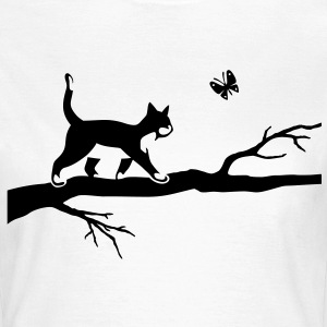 Chat papillon arbre Cat Butterfly Tee shirts - T-shirt Femme