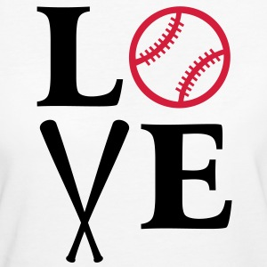 I love Baseball. Schläger Ball bat bats Herz heart T-Shirts - Frauen Bio-T-Shirt