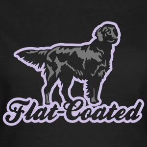 flat_coated_on_black Camisetas - Camiseta mujer