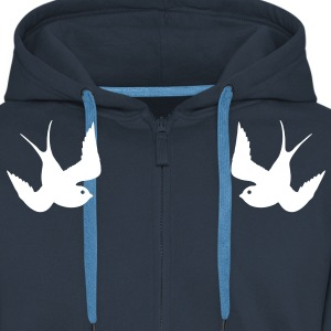 Tattoo Swallows Design Oldschool Birds Freedom Felpe - Felpa con zip Premium da uomo