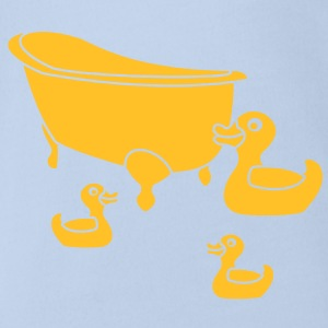 Vintage Retro Comic Swimming Pool Ducks Holiday T-shirts - Ekologisk kortärmad babybody