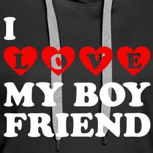 I LOVE MY BOYFRIEND. Valentine's Day Hoodies & Sweatshirts - Women's Premium Hoodie