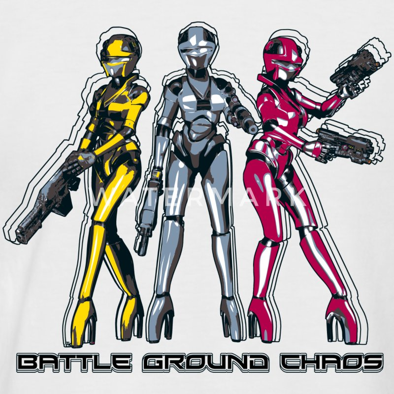 Manga Battle Ground Chaos - Männer Baseball-T-Shirt